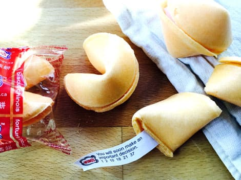 Fortune cookies on a table.