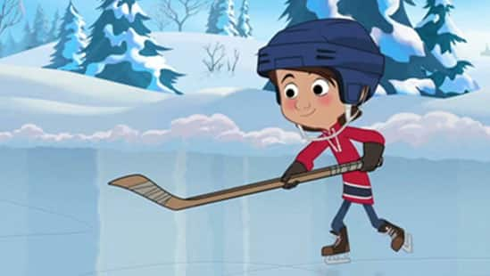 An still frame from the animated special, The Magic Hockey Skates.