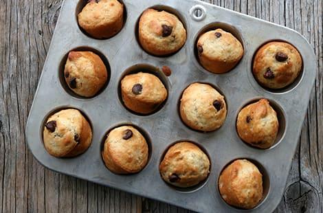 Overhead chocolate muffins.