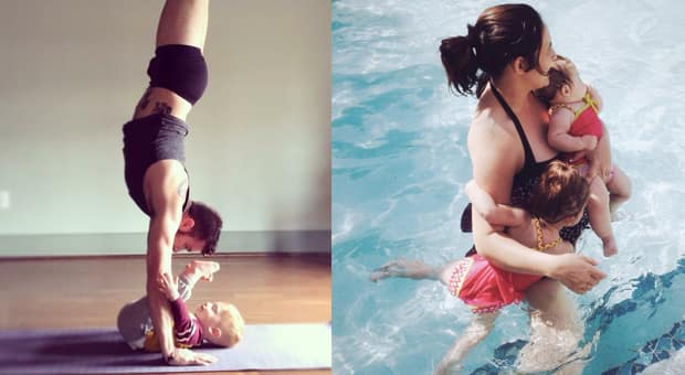 a father and baby practice yoga together and a mother and her two young children are playing in the water
