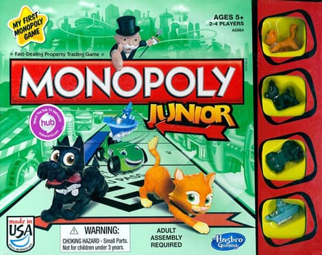 The cover of the box of Monopoly Junior.