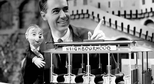 An archive image of Mr. Rogers and Trolley shot at CBC in Toronto