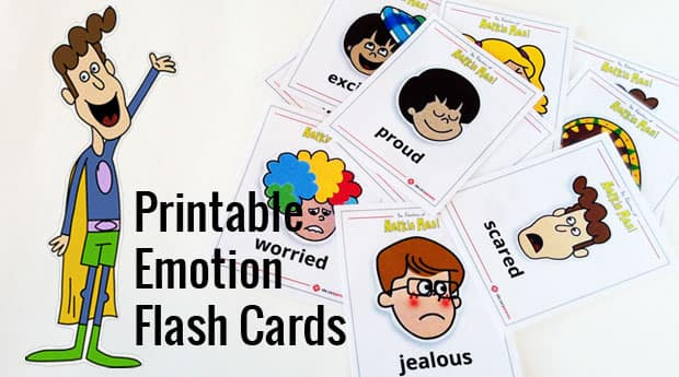 Playful image for free printable emotions flashcards