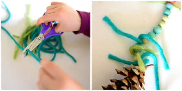 A collage of two images, one of snipping bits of yarn with a pair of scissors, and the other a close up of wooden beads strung from the top of a pine cone with bits of wool wrapped between the beads.