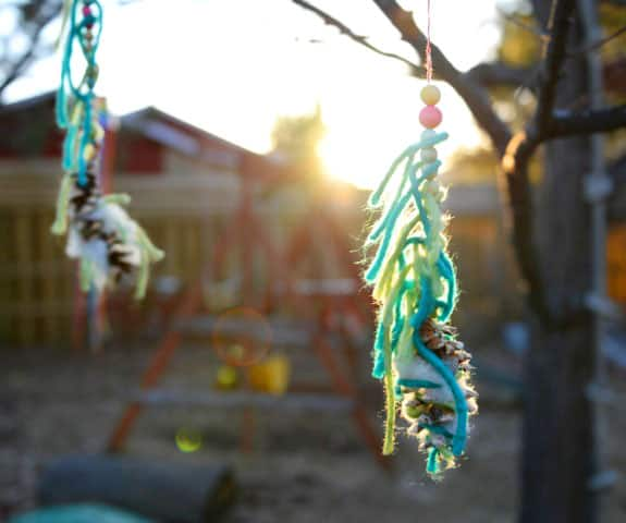 Nesting mobiles hanging in a tree at sunset.