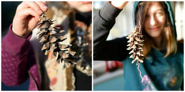 A collage of two images of girls holding big pine cones.