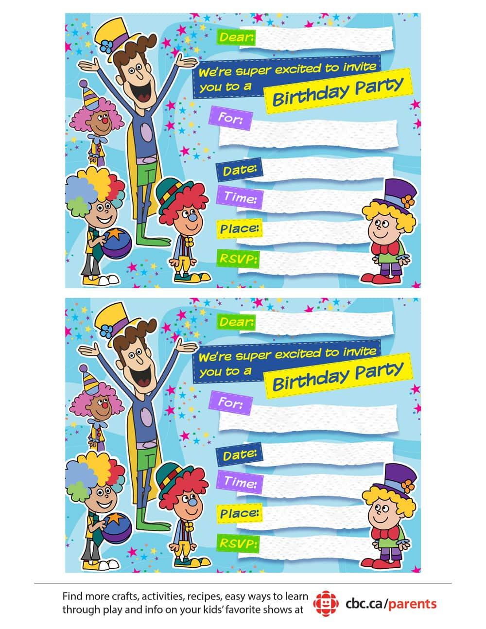 Napkin Man birthday party invitation.