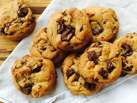 Cookies loaded with toffee bits, chocolate chunks and chunks of dates.