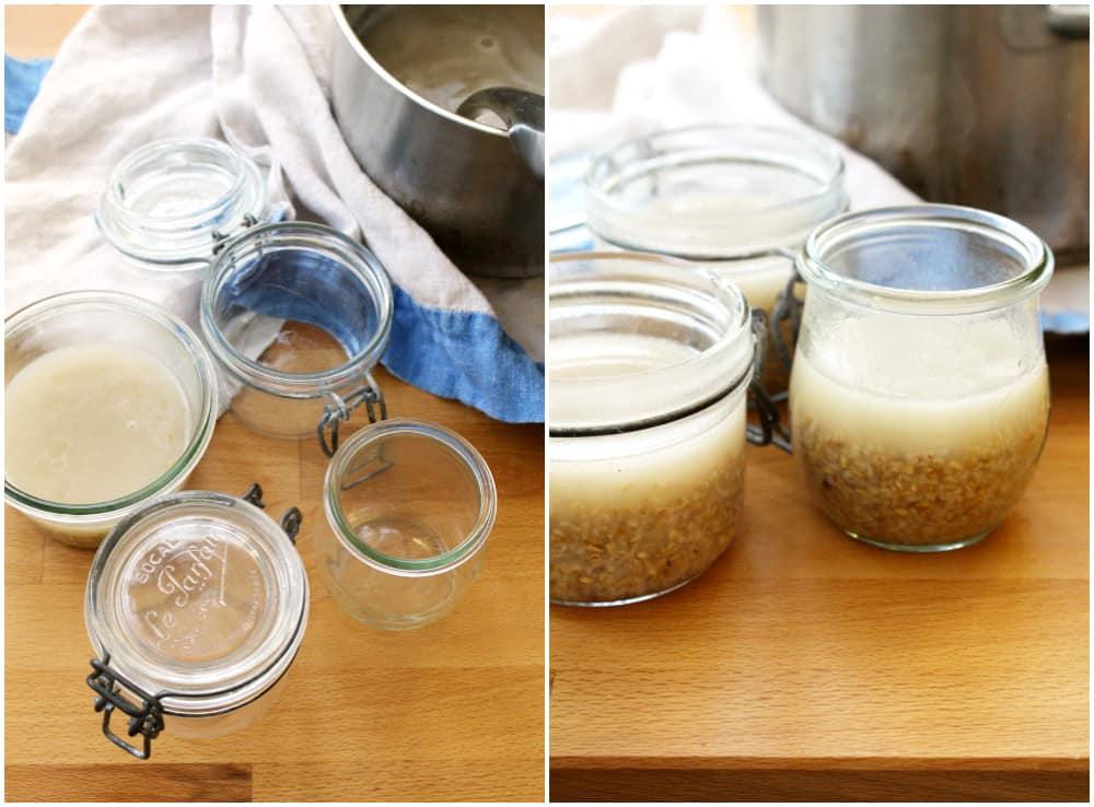 Jars full of overnight oats.