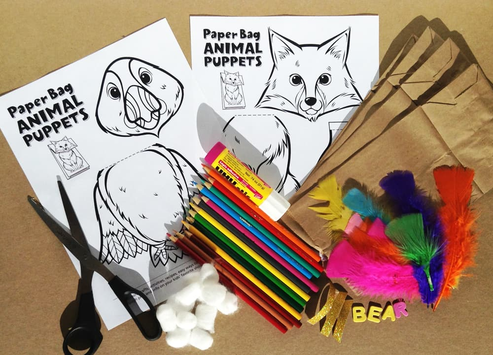 Supplies for paper bag animal puppets.