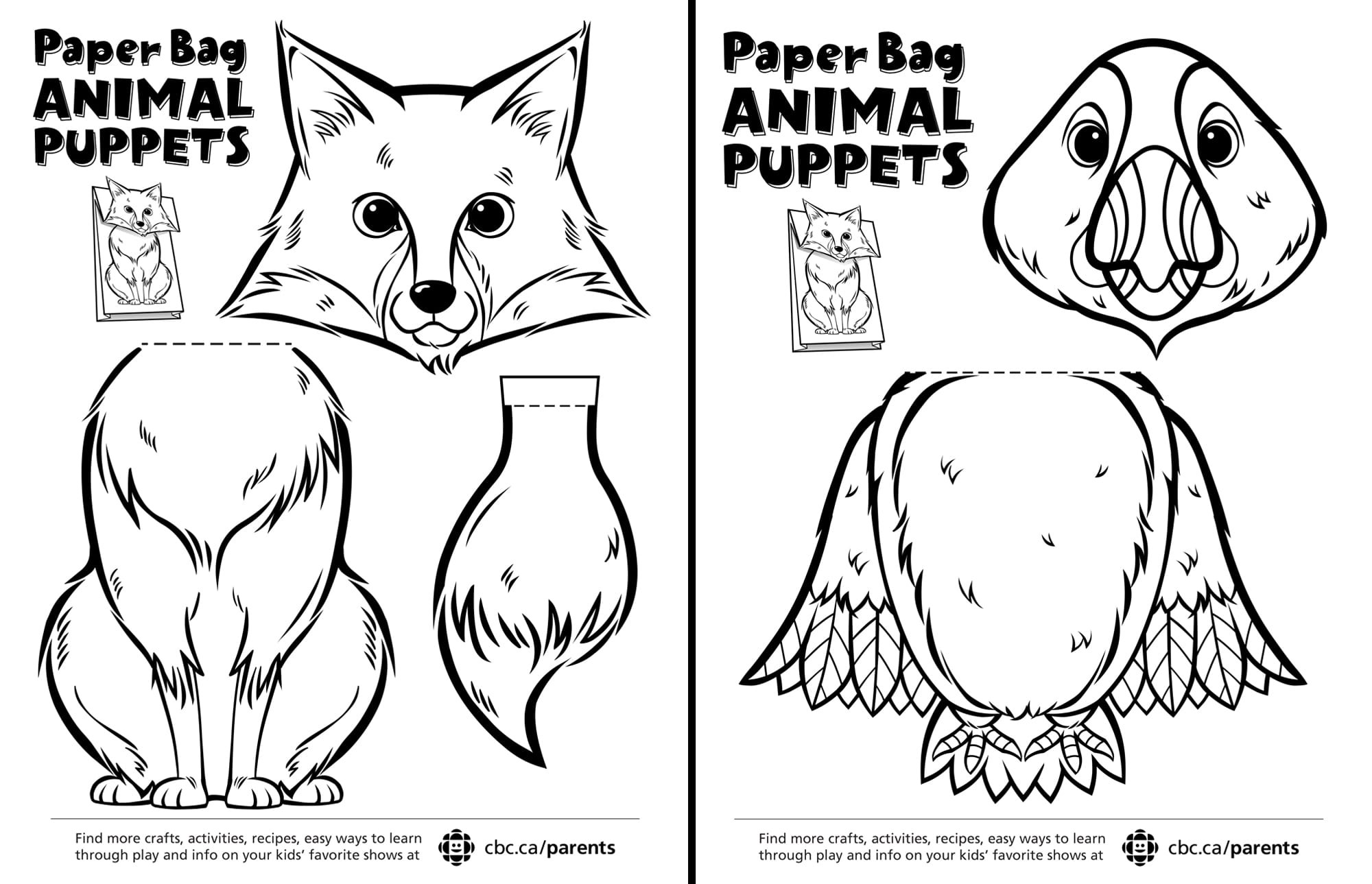 Canadian animal paper bag puppets play cbc parents instructions pronofoot35fo Images