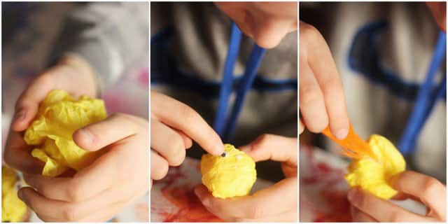 A collage of three images. In the first, hands crumpling tissue paper into a ball. In the second, adding googly eyes. In the third, gluing a feather on.