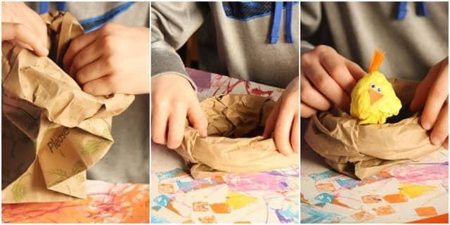 A collage of three photos showing the process of making paper-bag nests.