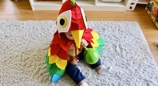 A baby dressed in an adorable DIY parrot costume.
