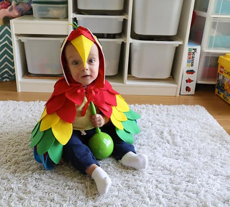 An adorable baby sitting in his parrot costume, smiling at the camera.