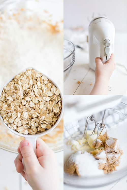 A collage of baking steps: a child's hand holding a measuring cup full of oats, a child's hand holding a hand mixer, a hand-mixer mixing sugar and butter.