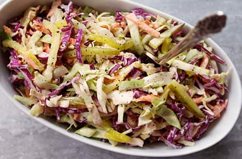 Colourful coleslaw.