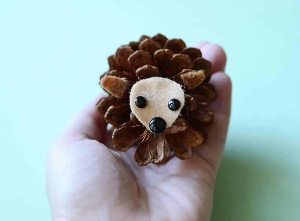 A finished pine cone hedgehog.
