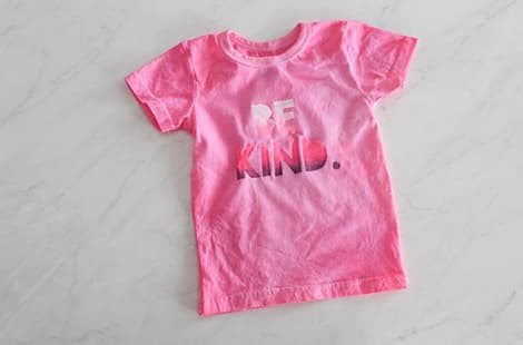 Be Kind shirt ready to be worn.