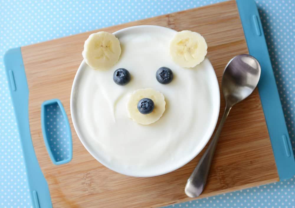 A bowl of yogurt that looks like a polar bear.