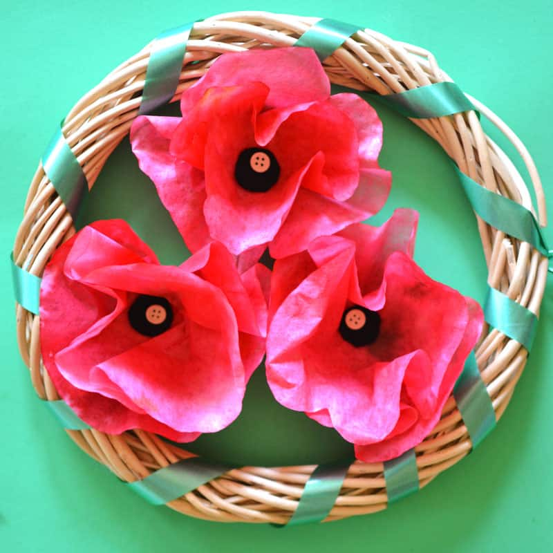 Poppy flowers and a wooden wreath