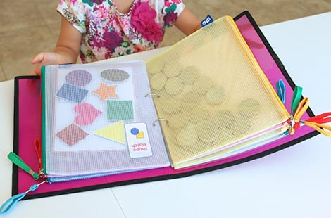 Portable activity binder full of shapes!