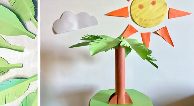 palm tree made of paper towel roll covered in brown construction paper and leaves made of green construction paper with a base of card stock