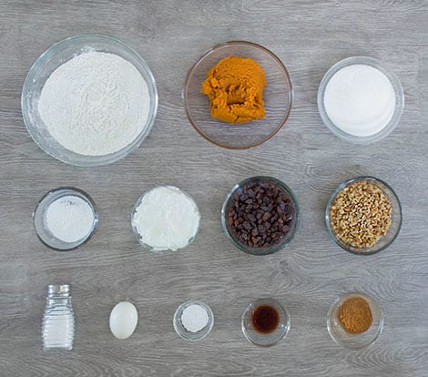 The ingredients laid out in bowls on a table.
