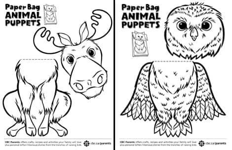 Images of the moose and owl puppet PDFs as they will appear when printed.