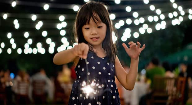 Young girl celebrating new year's eve