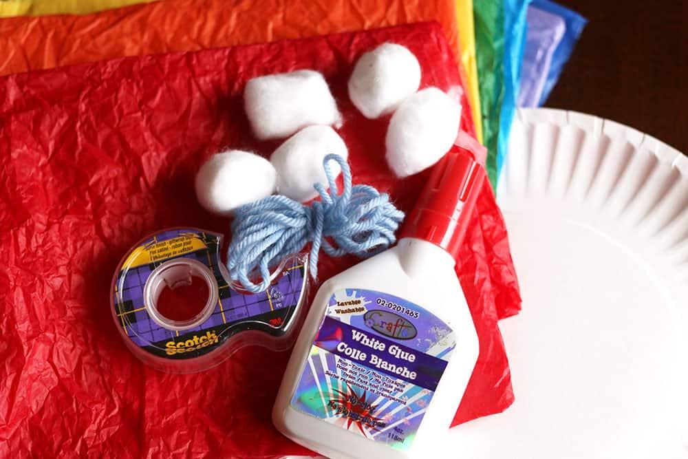 Supplies for rainbow mandalas.