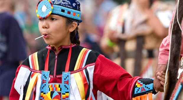 A young female Powwow Dancer at Grand River