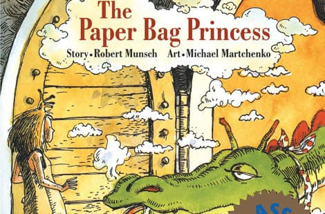 Book cover: The Paper Bag Princess by Robert Munsch, illustrated by Michael Martchenko
