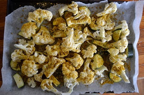Roasted cauliflower straight out of the oven.
