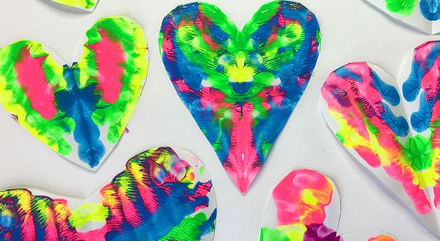Vibrant rorschach window hearts