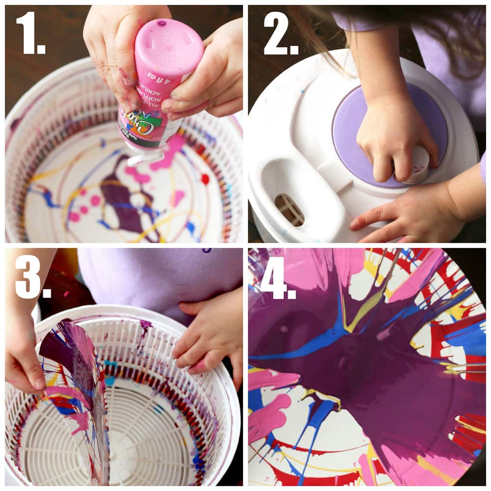 The 4 steps to making salad spinner art.