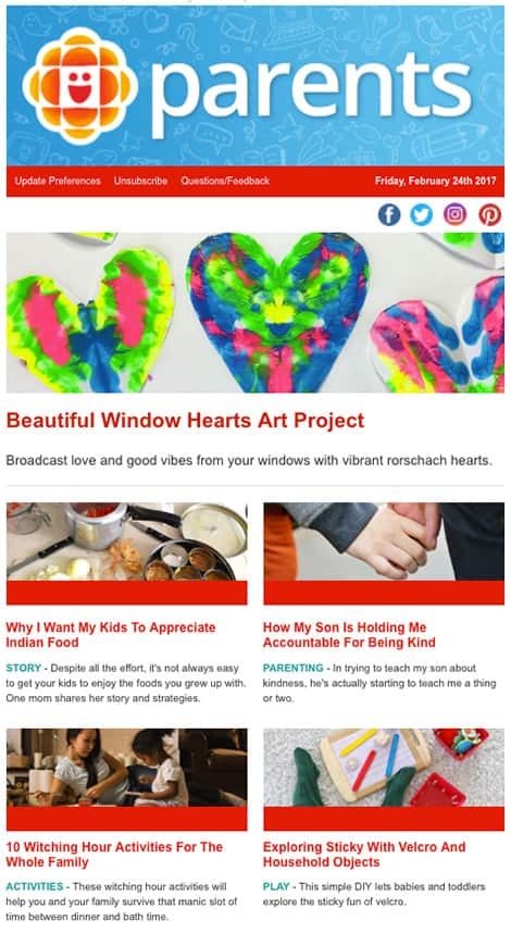 Stories featured: Beautiful Window Hearts Art Project; Why I Want My Kids to Appreciate Indian Food; How My Son is Holding me Accountable for Being Kind; 10 Witching Hour Activities for the Whole Family; Exploring Sticky with Velcro and Household Objects