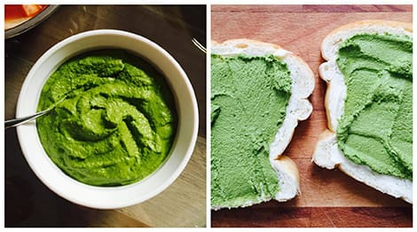 A bowl of creamy coriander chutney, and another shot of a slice of bread spread with the chutney.