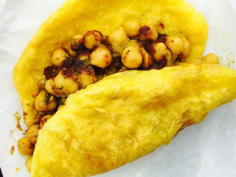 Trinidadian doubles filled with chickpeas.
