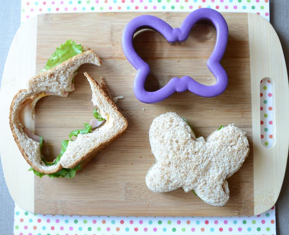 A sandwich in the shape of a butterfly.