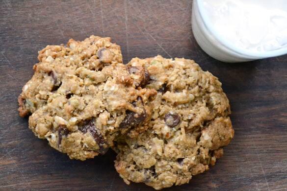 Two freshly-baked cookies.