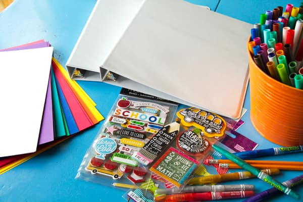 Supplies needed for a back-to-school memory book.