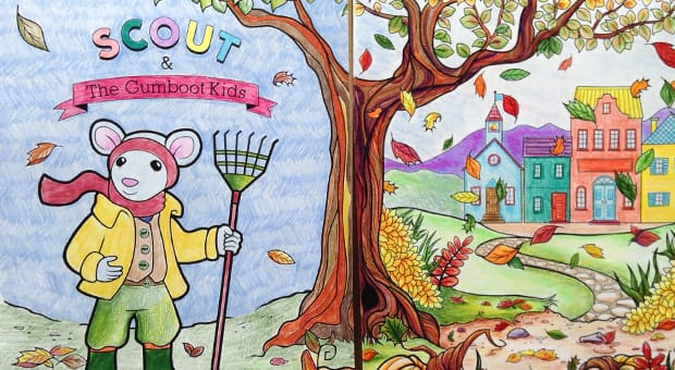 Scout & The Gumboot Kids colouring sheets for kids and adults.
