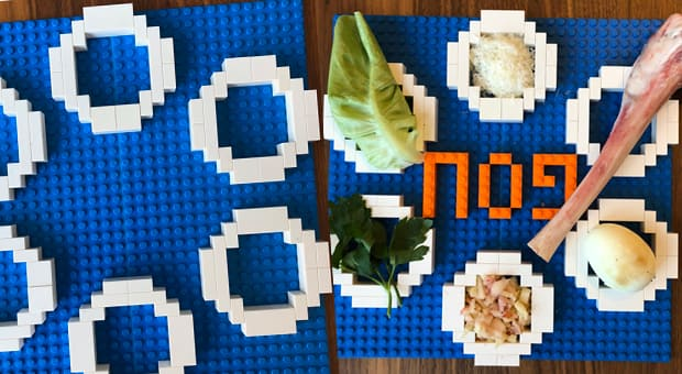 a passover seder plate made of lego is shown in two stages: in process and complete