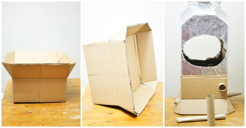 3 steps to making a cardboard Soyuz capsule.