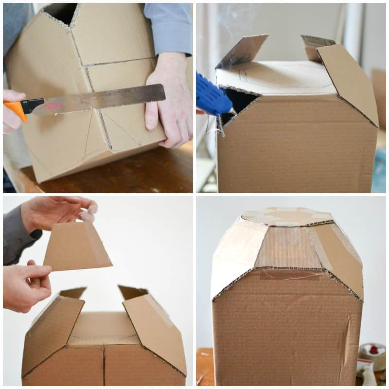 4 photos of the process of building a spaceship from a cardboard box.