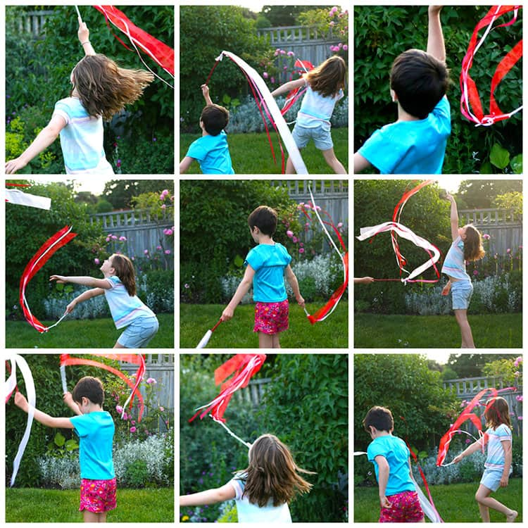 A 3x3 grid of images of two kids jumping, waving and dancing with their ribbon twirlers in a backyard.