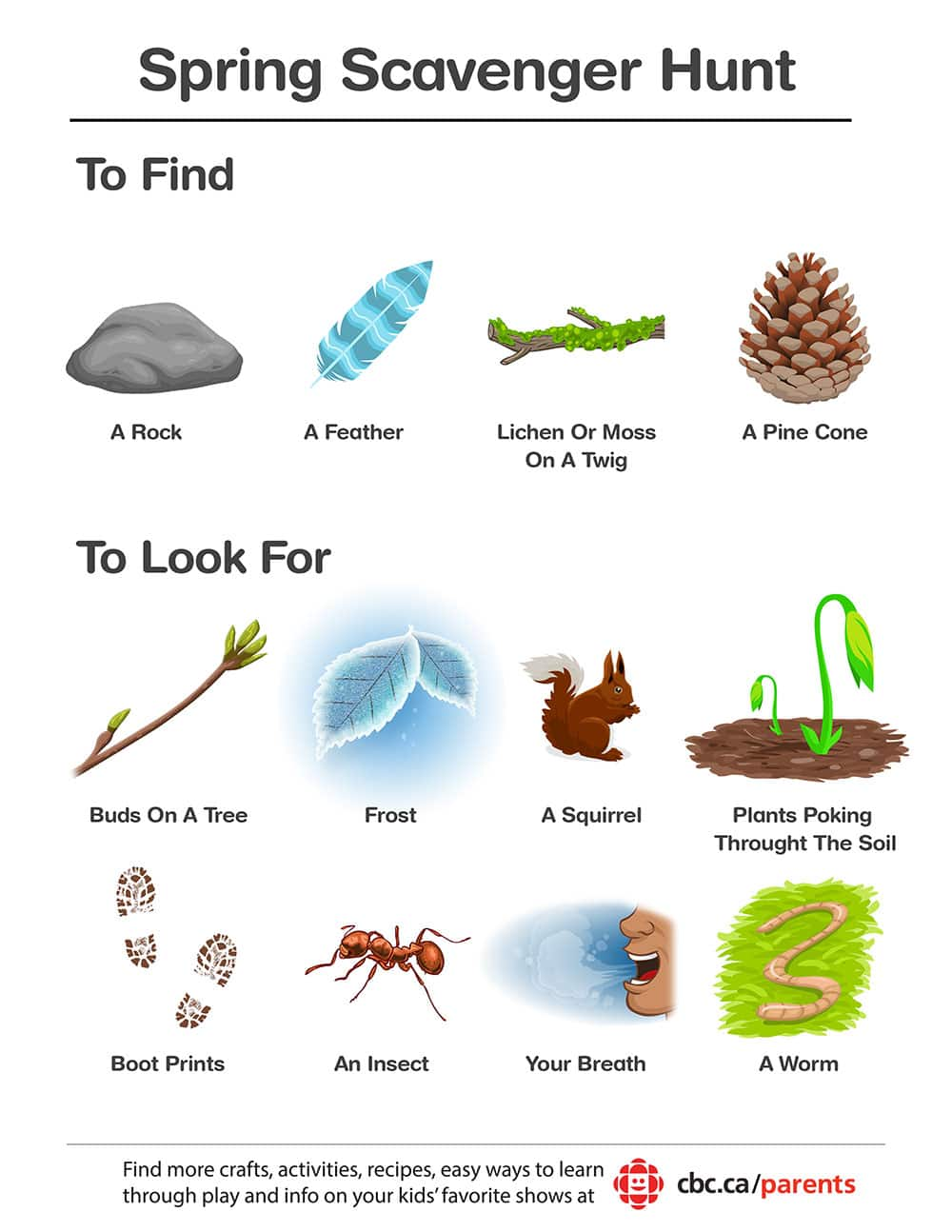 picture relating to Outdoor Scavenger Hunt Printable identified as Printable Spring Scavenger Hunt Engage in CBC Mothers and fathers