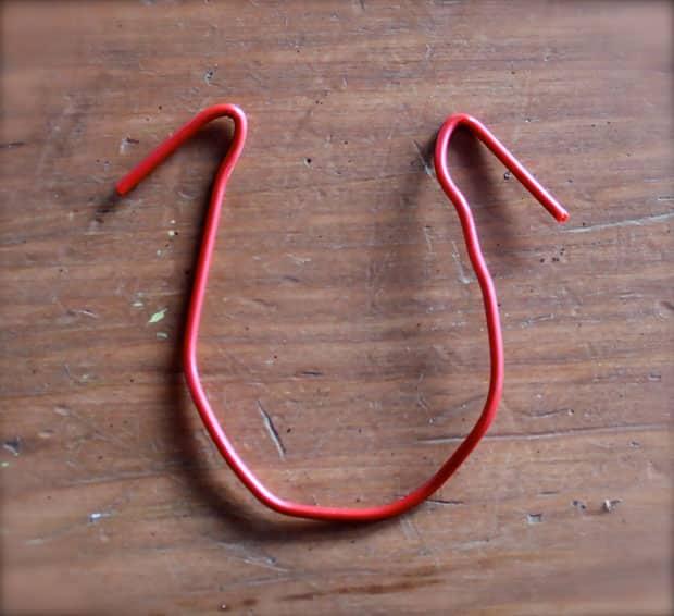 A paper clip in a u-shape