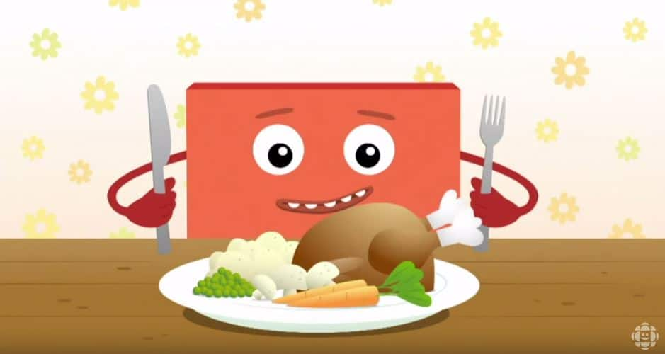 A red big block sits in front of a turkey dinner.